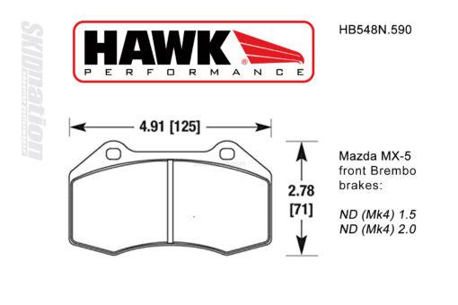 Hawk HB548N.590 front Brembo brake pads Mazda MX-5