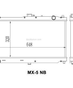 Mazda MX-5 NB SkidNation aluminium radiator dimensions