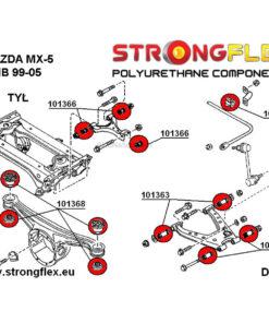 Mazda MX-5 Miata NB rear suspension polyurethane bushings