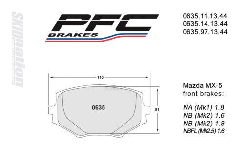 PFC 0635 front brake pads Mazda MX-5 Miata